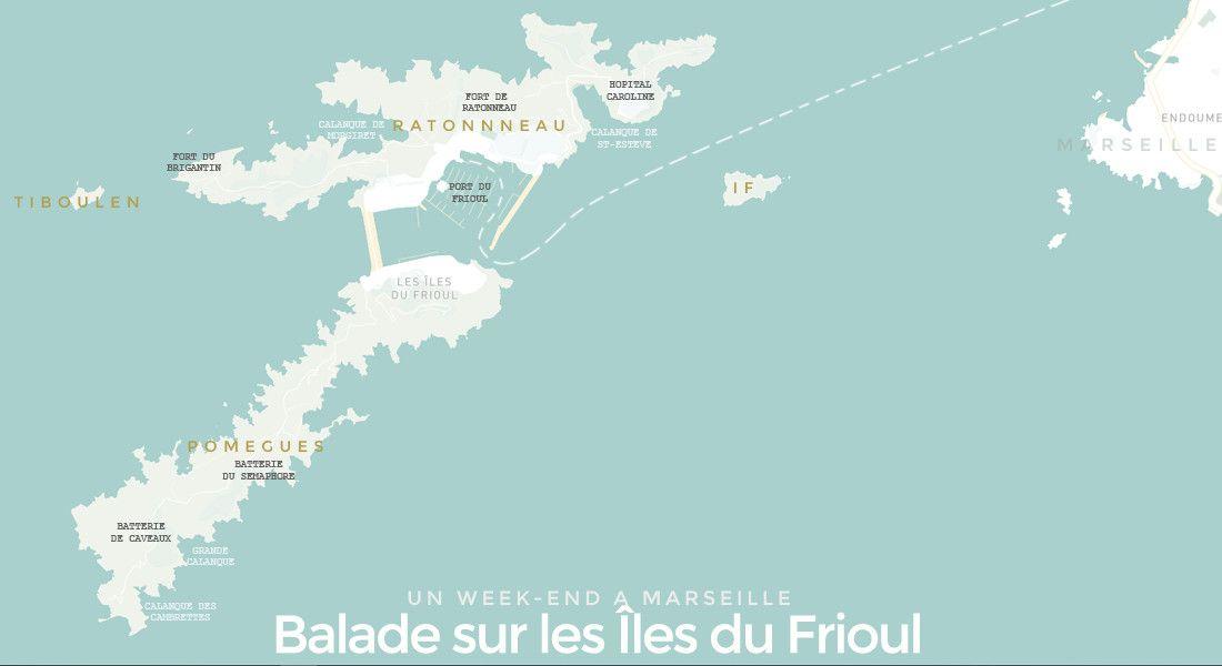 carte des îles du Frioul