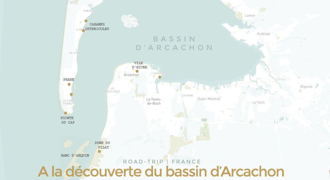Carte bassin d'Arcachon, Cap Ferret et Dune du Pilat: lieux d'intérêts et site touristiques