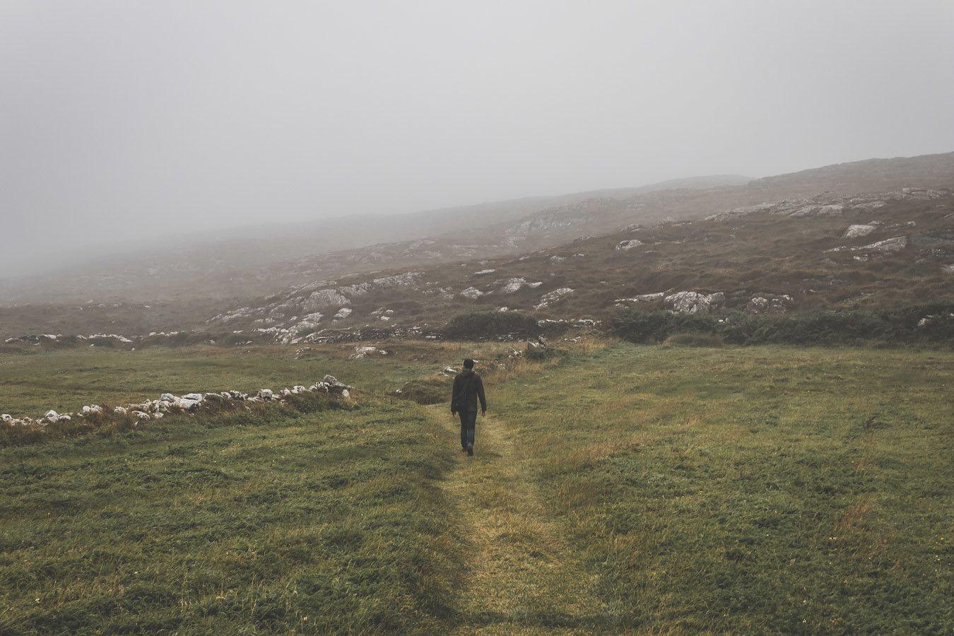 Marcher dans les champs de moutons en Irlande