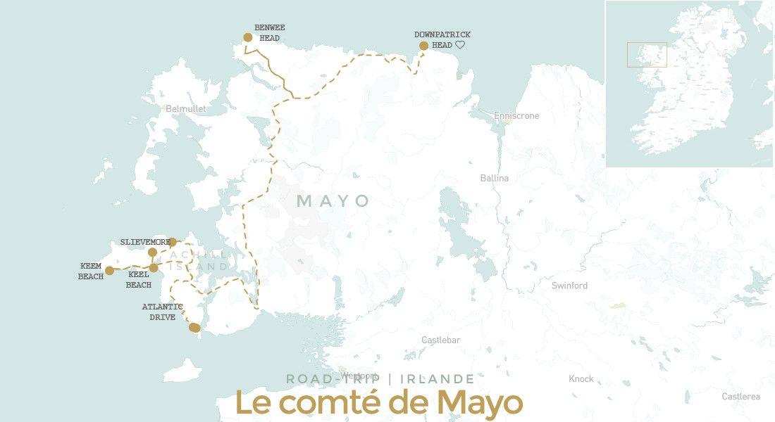 Carte itinéraire road trip comté de Mayo en Irlande