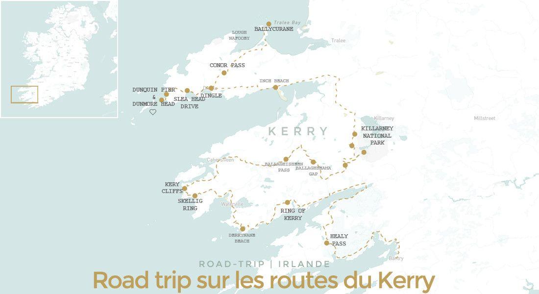 Carte itinéraire road trip dans le comté de Kerry