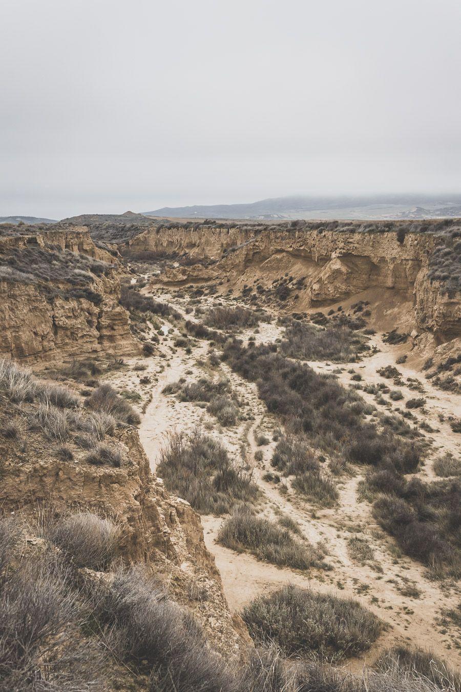Canyon dans le désert des Bardenas Reales