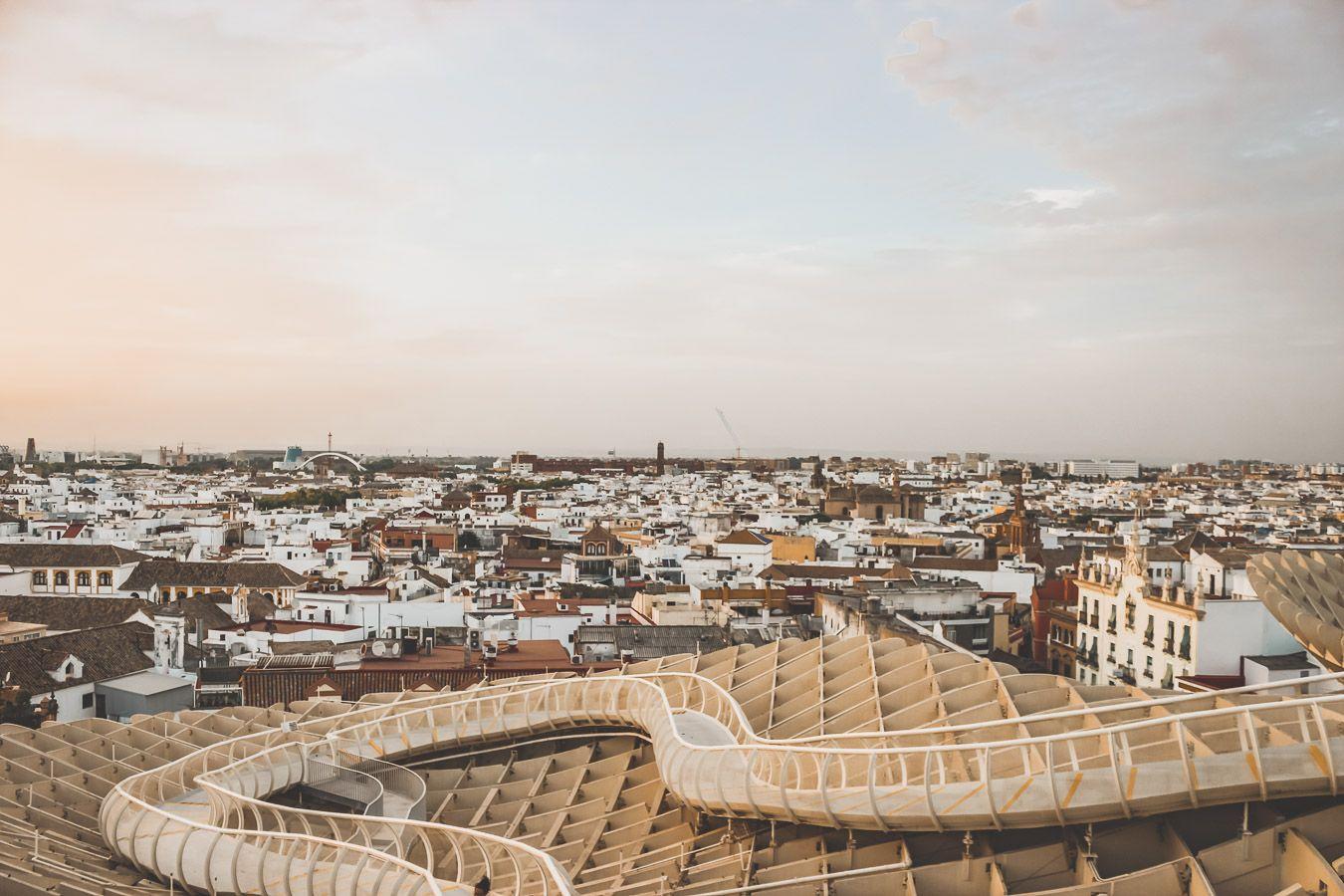 Vue depuis le Metropol Parasol à Séville