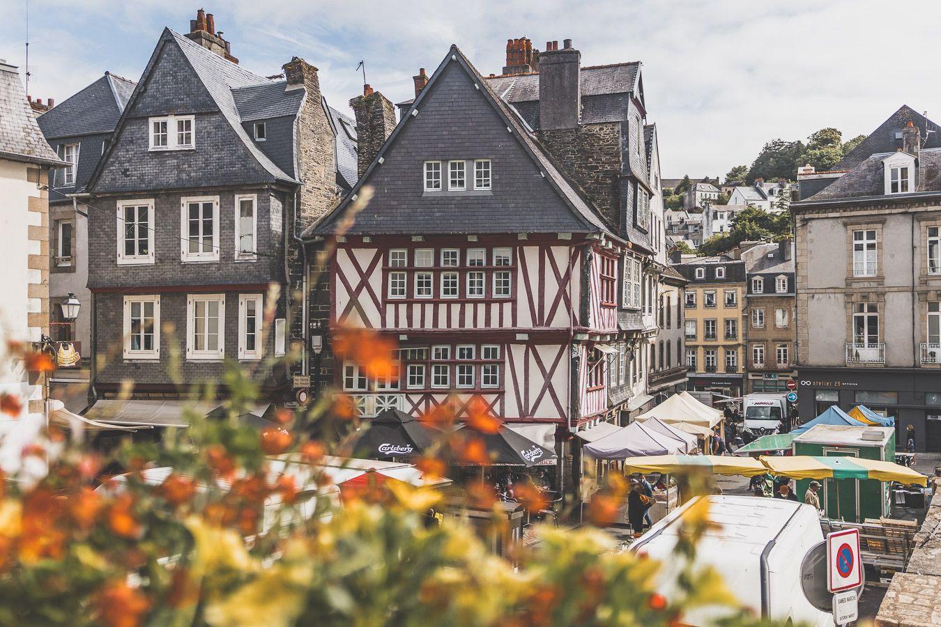 Place du marché à Morlaix, Finistère